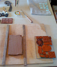 Mosaic Table Table Top With Textured Clay Tiles