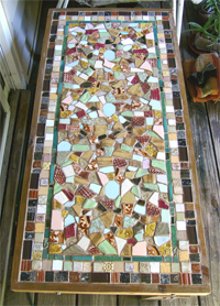 Mosaic Table Top With Textured Clay Tiles